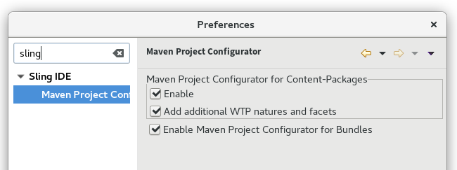 Maven Project Configurator preferences